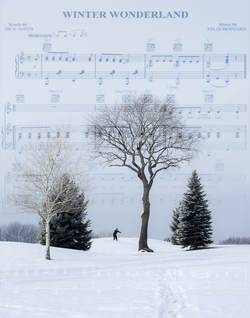 Picture: Winter scene with sheet music imposed over image